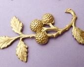 Brass Flower Leaf Branch Findings Berry