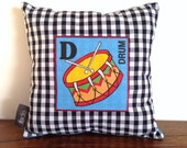 D for Drum Pillow, Kids Pillow Cushion, Little Drummer Boy, Kids Room Pillow, Personalised Pillow, Christmas Gift, Baby Pillow Gift