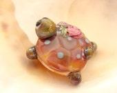 Pink Turtle Bead Handmade Lampwork