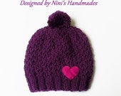 Ready to ship OOAK PLUM Thick Adult size Pom Pom Beanie with Dark Fuchsia Felt Heart, Mad in USA Adult Hat, Teen Hats, Adult Pom pom hat
