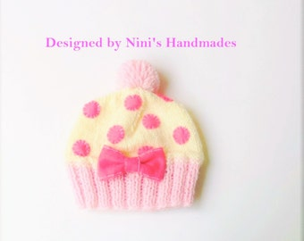 Knit HOTPINK  DREAM Cupcake Beanie, Handmade in America, Polka dot hat, Hotpink hat, childrens clothing, childrens accessories,    girl hat