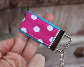 READY To Ship-MINI-MINI Keychain-White Dots on Hot Pink-Turq