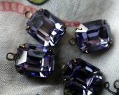 20% off sale Swarovski Tanzanite 12x10mm Octagon Article 4600 Brass Ox Glass Drops 4 Pcs