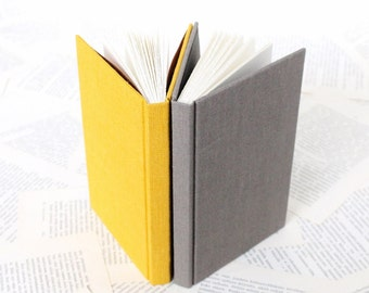 Hardcover Notebook in Gray or Yellow Linen
