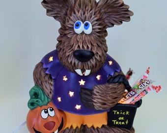 Ceramic Wolfman - Lighted Halloween Decor - Wolfie - Werewolf Trick or Treater - Lighted Halloween Centerpiece - Halloween Decor