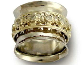 Wide gold band, solid white gold band, yellow gold ring, spinner ring,  diamonds ring, multistones band, engagement - New beginning RG1149XZ