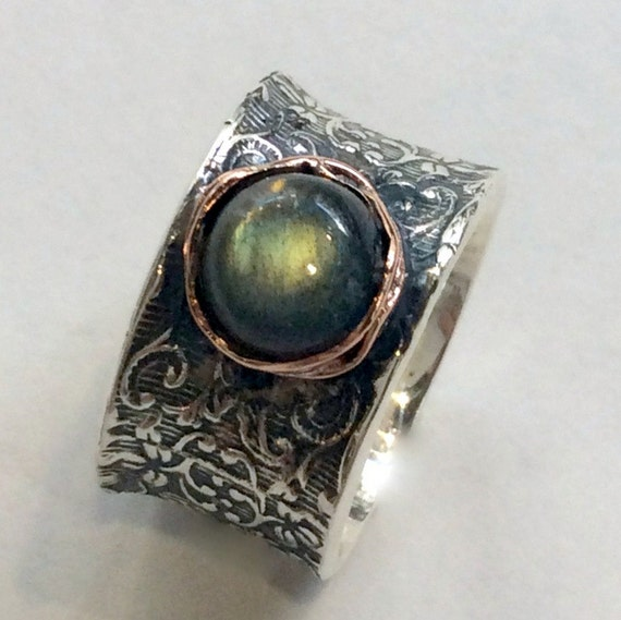 Sterling Silver Band, Sterling Silver Ring, Silver Filigree Band,  labradorite ring, boho chic jewelry, bohemian ring - Our story R2059