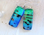 Green Earrings, Blue, Dichroic Glass Earrings, Dangle, Sterling Silver, Black, A4