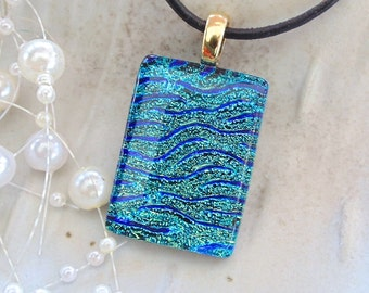 Dichroic Glass Pendant, Necklace, Fused Jewelry, Blue, Green, Aqua, Gold, Necklace Included, A5