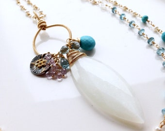 Sapphire Turquoise London Blue Topaz White Moonstone Wire Wrapped Flapper Pearl Pendant Long Layering Necklace