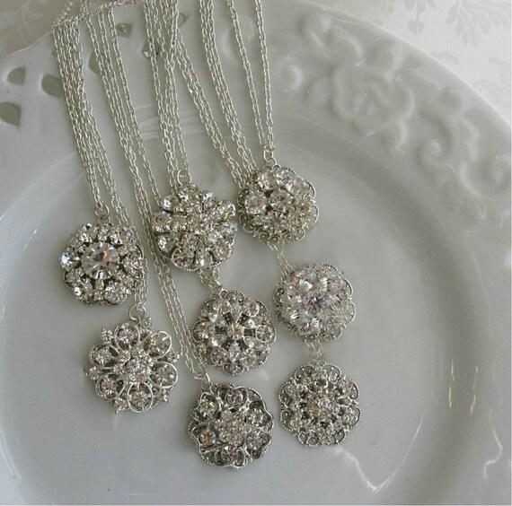 Bridesmaid Necklace, wedding jewelry, Bridesmaid gift, simple necklace, Bridesmaid Jewelry, Crystal Silver, Rhinestone necklace