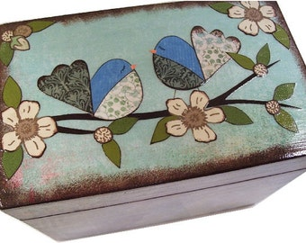 Recipe Box, Wooden, Decoupaged, Bridal Shower, Decorative, Holds 3x5 Cards, Recipe Organizer, Storage, Kitchen Decor, MADE TO ORDER