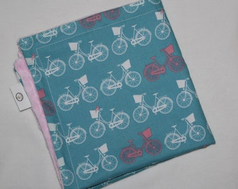 Blue Whimsical Wheels Minky Security Blanket Lovey