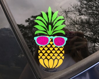 Pineapple with Sunglasses Pine Apple Yeti Tumbler Vinyl Wall Decal Car Decal Laptop Decal Yeti Decal