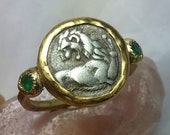 RESERVED FOR SUE Gold Coin Ring, Statement Ring, Ancient Coin Jewelry, solid yellow gold ring,  emerald Gemstone and coin ring