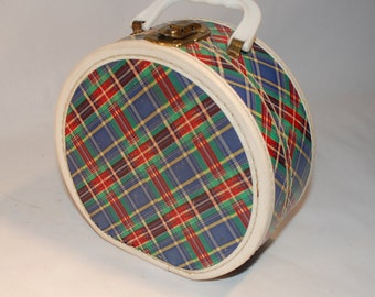 Vintage small round red blue and green plaid child's doll case travel luggage round hat box suitcase make up beauty case