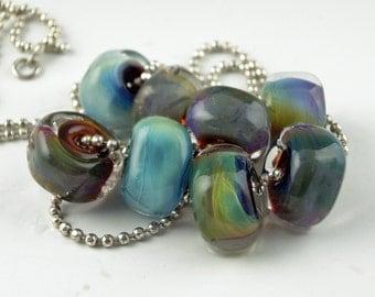 Magic Blue and Green Rocks,8 Handmade Lampwork Glass Beads,lampwork bead set,jewelry supplies,lampwork spacer bead,artist lampwork