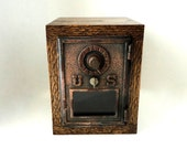Jacobean Oak Wood Safe Vintage Copper / Bronze Post Office Mail Box Door Mail Manly Groomsman Dad 7th 8th Anniversary Retirement Combination