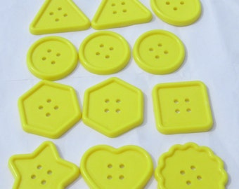 Buttons Yellow Buttons 12 jumbo yellow assorted shapes plastic buttons new destash supplies for crafting and sewing