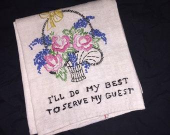 Vintage Embroidered Guest Linen