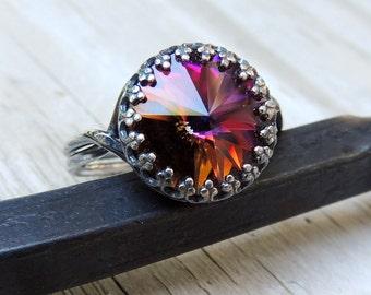 Silver Gemstone Ring - Sterling adjustable ring, gift for her