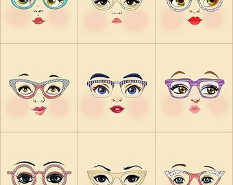 Glasses girls cloth doll faces ready to sew fabric panel cream A3C