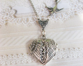Silver Locket Necklace  - Silver HEART Locket - My GUARDIAN ANGEL - Jewelry by BirdzNbeez - Wedding Birthday Bridesmaids Gift
