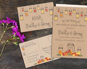 Fall Leaves Rustic Mason Jar Elopement Reception Invitation, Fall Wedding Reception Invitation,Event Invitation, Party Invitation, Digital