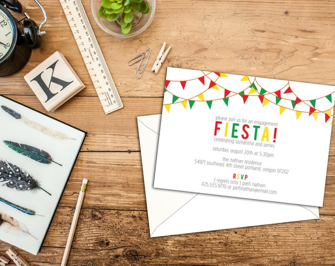 Party Flags Party or Shower Invitation, Flags invitations, Event Invitations, Includes Envelopes, DIY Digital Invitations, Fiesta Cards