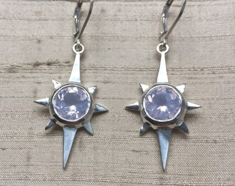 North Star Earrings- Lavender Moon Quartz and Sterling