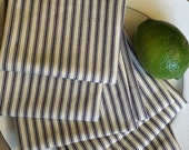 Dinner Napkins, Large Blue French Ticking Napkins, Stripe Napkins, Eco Friendly Cloth Napkins, Napkins (Set of 4)