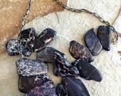 Black Jasper Necklace - Big Black Bold Chunky Handmade Jasper Crystal Slab Statement Necklace OOAK