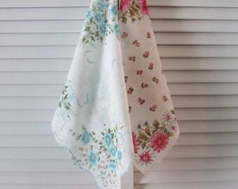 Two Vintage Floral Handkerchiefs/ Hankies - Aqua/ Pink