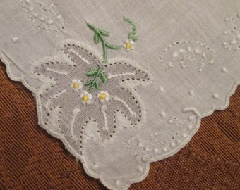 Vintage Wedding Hanky/ Handkerchief - Cutwork/ Embroidery - Something Old