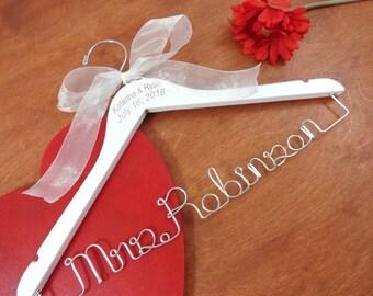 Name Date Engraved - Coathanger - Graduation Hanger - White Coat Ceremony - Wedding Memento - Dr Hanger - Wooden Coat Hanger - Custom