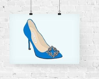 Blue Manolos Fashion Illustration Art Print