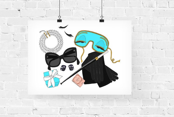 Audrey Hepburn What's in my Bag Portrait Fashion Illustration Art Print