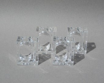 4 Lucite Bud Vase Napkin Rings 1990s Vintage Clear Acrylic
