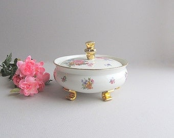 Vintage Powder Dish Shabby Cottage Chic Dish Covered Dish Candy Trinket Dish Gold Floral Dish