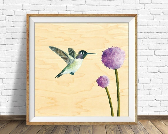 Hummingbird - art print, square art print, wood wall art, large art, large wall art, wall art prints, bird, hummingbird, wall art, prints