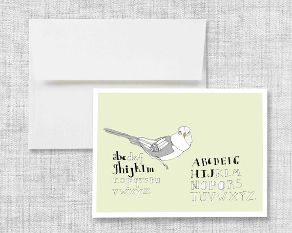 "greeting card, blank greeting card, greeting card set, greeting cards handmade, drawing, bird, lettering, alphabet - ""Sketchbook Birdie"""