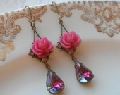 75% Off Price Sale- Hot Pink Rose Earrings with Vintage Glass Teardrop