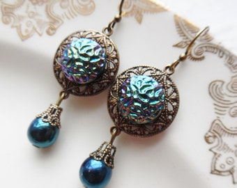 Blue Twilight, Vintage Glass Button Earrings
