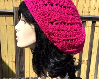 Slouchy Womens Hat Magenta Pink Dreads Crochet Dreads Hat Crochet Tam Slouchy Womens Hat Slouchy Hat Accessories