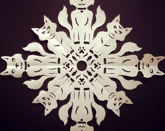Kitty Snowflake DIY Template. Learn to fold and cut out your own snowflake!