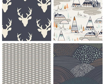 BUNDLE - Indian Summer - Hello Bear - Bonnie Christine - Sarah Watson - Art Gallery Fabrics - Teepees Deer Heads Antlers Navy