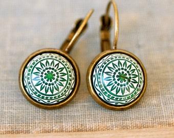 Green mosaic boho dangle earrings. minimalist,boho jewelry. Tiedupmemories