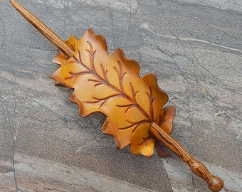 Golden Oak Leather Shawl Pin, Stick Barrette or Hair Slide | Fall Leaf Accessory | Autumn Colors