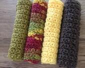 Cotton crochet dishcloth, cotton washcloth, cotton dishrag, set of 4 in fall colors