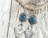 LISA'S FINAL PAYMENT Earrings Jewelry Blue Gemstone Apatite sterling dangles artisan ocean throat chakra Lagertha